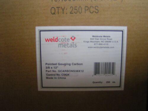 """3//8/"""" x 12/"""" Carbon Gouging Rods Copperclad DC Electrodes 250pc Weldcote Metals"""