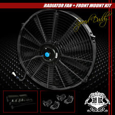 "UNIVERSAL SLIM 16"" PULL/PUSH RADIATOR ENGINE BAY COOLING FAN+MOUNTING KIT BLACK"