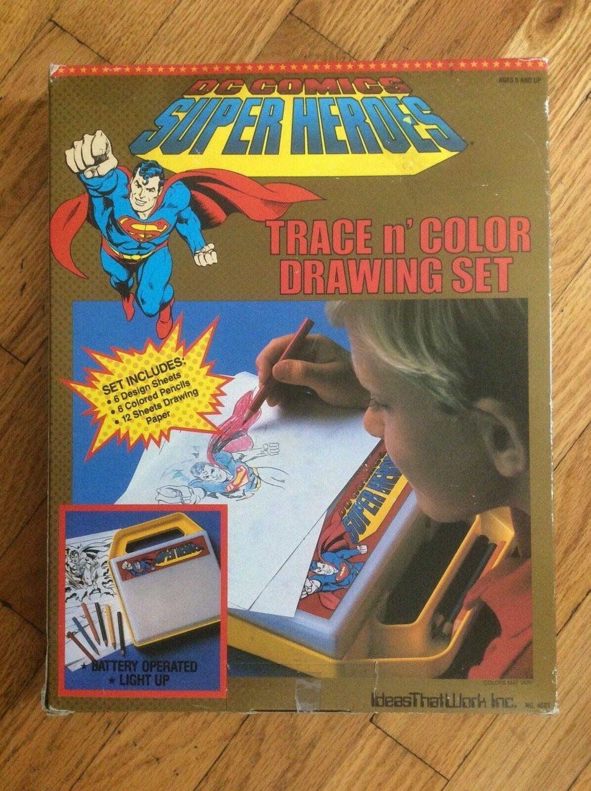 SUPER RARE, 1989, DC COMICS, (SUPERMAN) TRACE N' COLOR  (LIGHT UP) DRAWING SET
