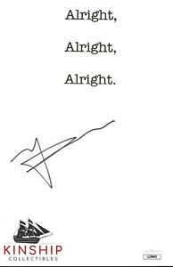 Matthew-McConaughey-signed-Custom-Sheet-JSA-COA-Famous-Actor-Z553