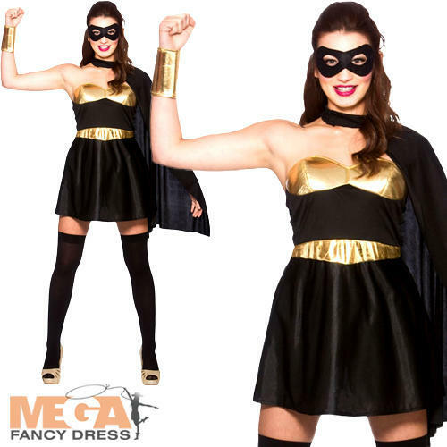 Hot Black Super Hero Ladies Fancy Dress Comic Book Superhero Women Adult Costume