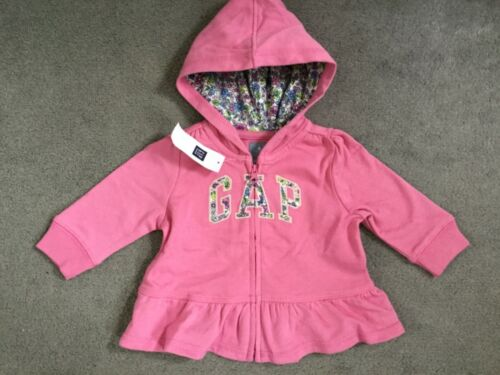 BNWT PINK HOODED ZIPPED TOP WITH PEPLUM GATHERED WAIST /& FLORAL LOGO GAP