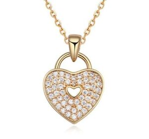 Women s Ladies  Locked  Love Heart Necklace Pendant Crystal Stones ... b1a121a1d