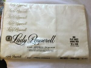VINTAGE LADY PEPPERELL FINE COMBED PERCALE FULL FLAT SHEET white NIP 81x108