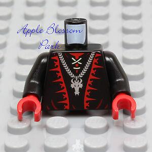NEW-Lego-Dragon-Wizard-BLACK-MINIFIG-TORSO-w-Red-Hands-Castle-Skull-Head-70403