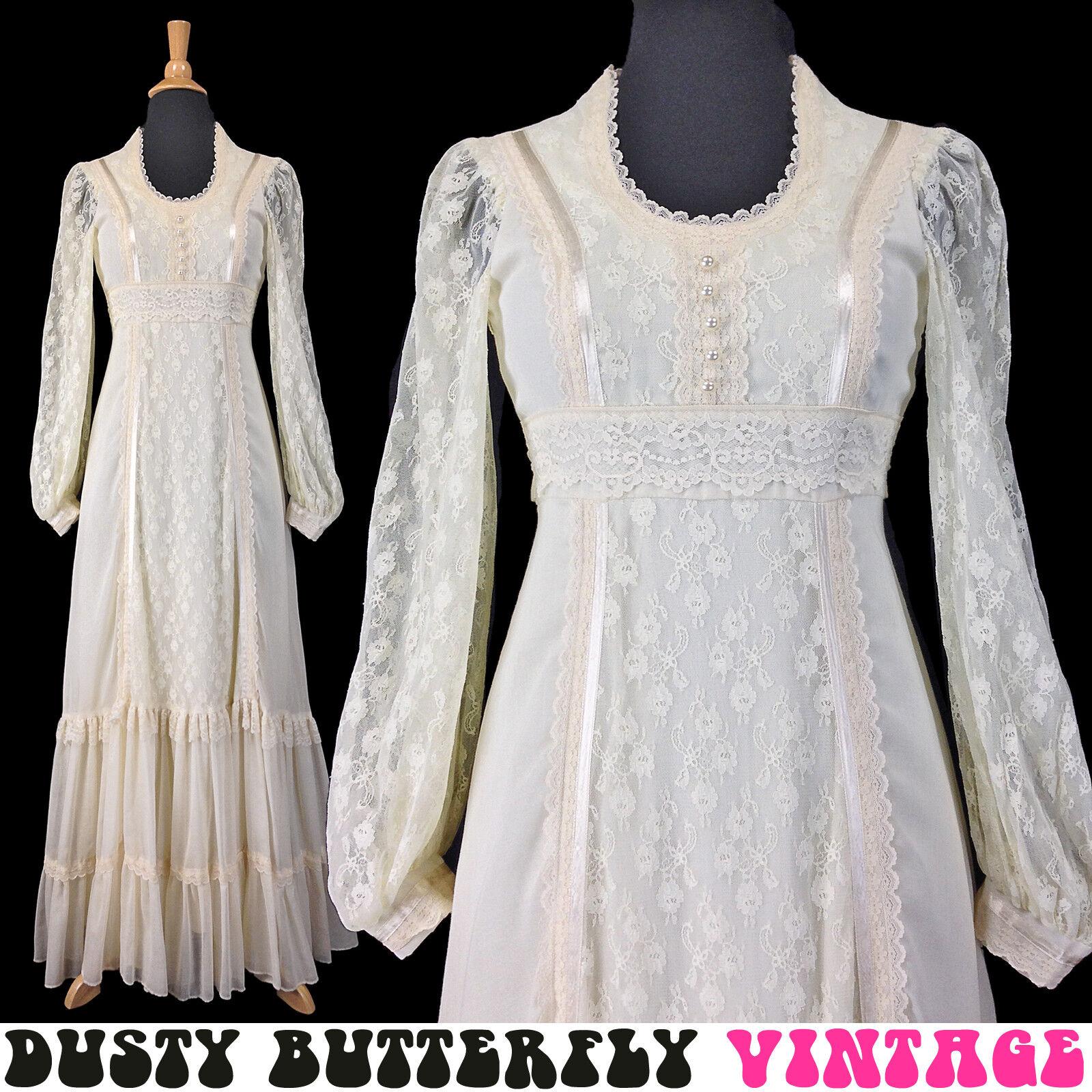 VINTAGE 70s GUNNE SAX BOHO WEDDING DRESS Maxi LACE BISHOP