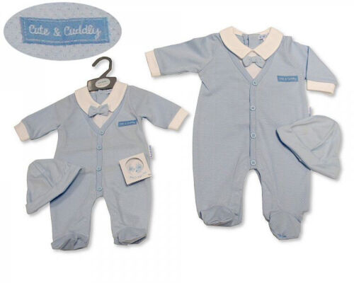 Baby Boys Spanish Style Faux Bow Tie Blue Pointelle Babygrow Romper /& Hat Set