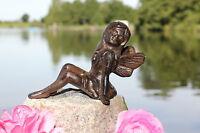 Schöne Sitzende Elfe Aus Gusseisen Deco Garten Braun Figur Skulptur