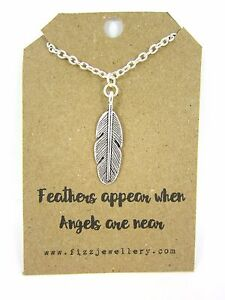Feathers-Appear-When-Angels-Are-Near-Message-Card-Silver-Necklace-New-Memory