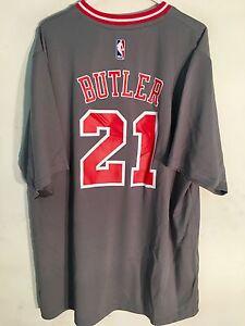 pretty nice e3d9d 99414 Details about Adidas NBA Jersey Chicago Bulls Jimmy Butler Grey Short  Sleeve sz L