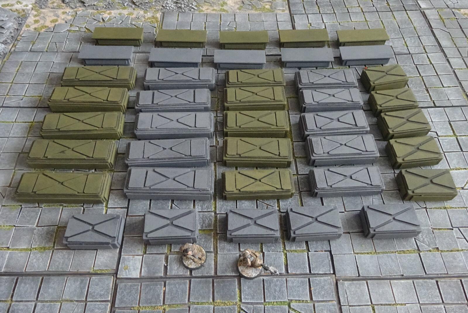 40 Green & Grey Ammo Crates - Warhammer Infinity Necromunda Sci Fi Scenery v.2