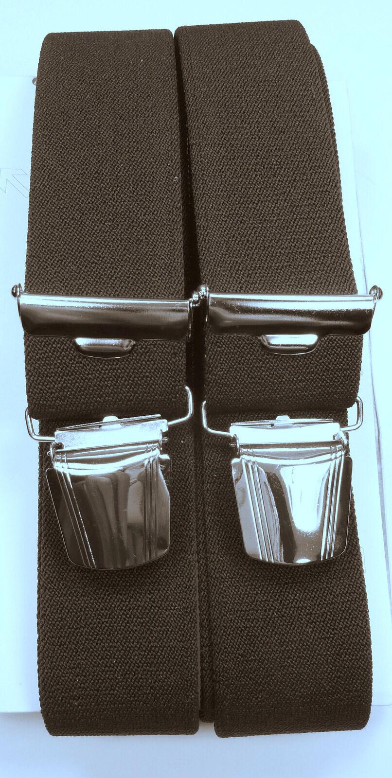 robuster brauner Hosenträger, starke,stabile Klips,35mm breit,120cm lang
