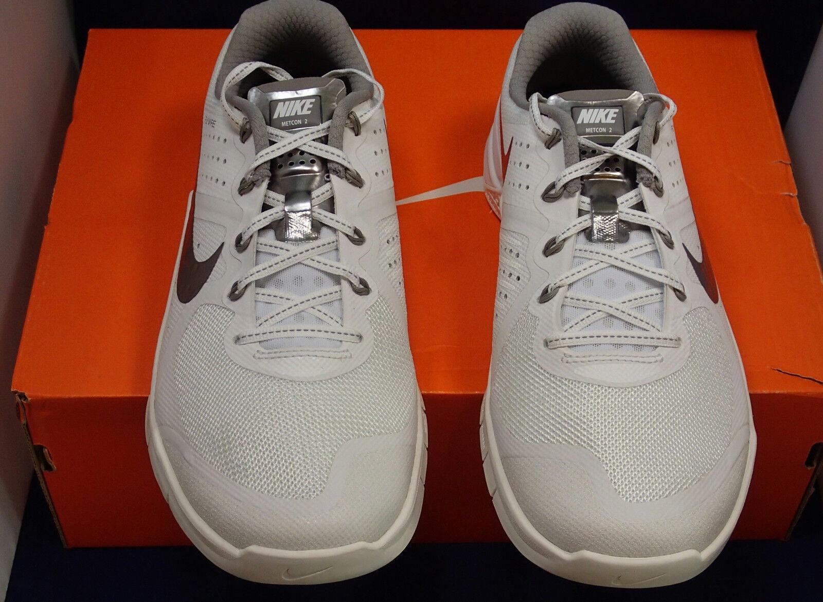 Womens SZ Nike Metcon 2 Summit White Metallic Pewter CrossFit SZ Womens 9.5 ( 821913-103 ) cd3724