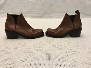 vintage-zodiac-ankle-boots-brown-leather-Chunky-Heels-Mop-Up-9-5M