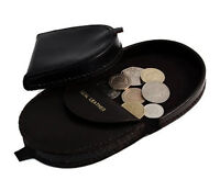 Mens Genuine REAL LEATHER Coin Tray Purse Large Coins Pouch Wallet Black Brown
