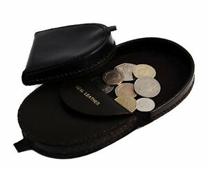 Mens-Genuine-REAL-LEATHER-Coin-Tray-Purse-Large-Coins-Pouch-Wallet-Black-Brown