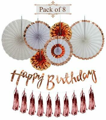 AMFIN Rose Gold Birthday Party Decorations Set Hanging Paper Fans Pack of 8