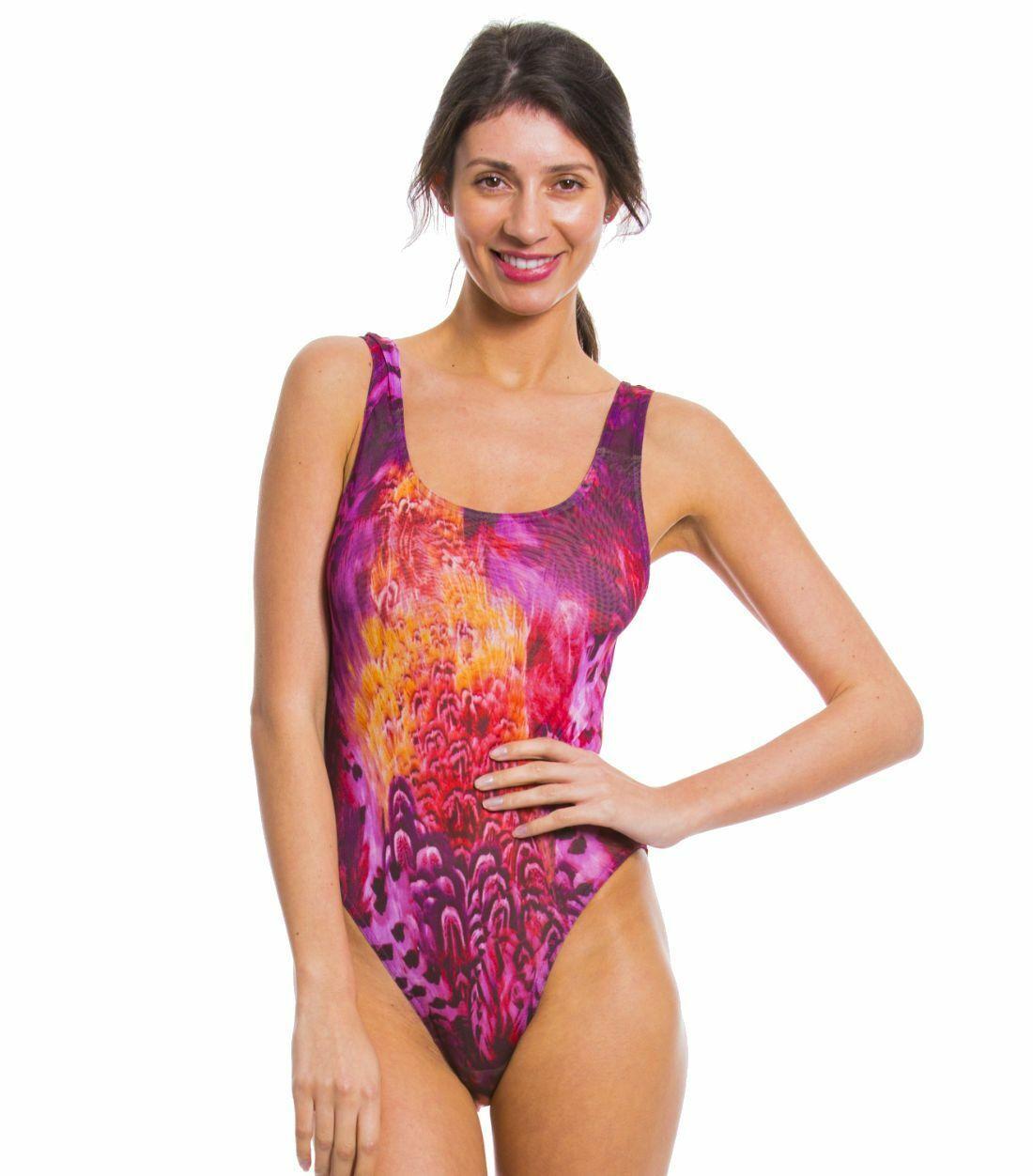 Kiniki Amalfi Purple Tan Through Badeanzug mit rundem Ausschnitt