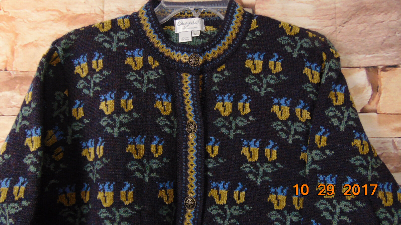 CHERRY LEWIS Grey Print Wool Acrylic Cardigan Sweater - Sz M
