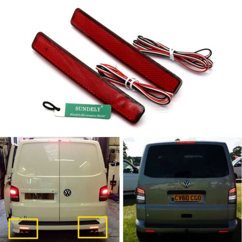 2X LED Rear Bumper Reflector Tail Stop Brake Light Red VW T5 Transporter 03-11