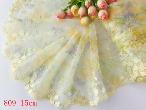 """6/""""*1yard Delicate Yellow Embroidered flower tulle Lace Trim sewing Craft DIY 809"""
