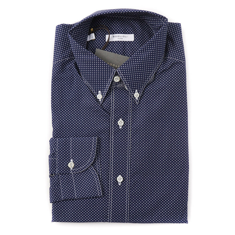 NWT  BOGLIOLI Navy and White Jacquard Print Cotton Shirt Slim M (Eu 40)
