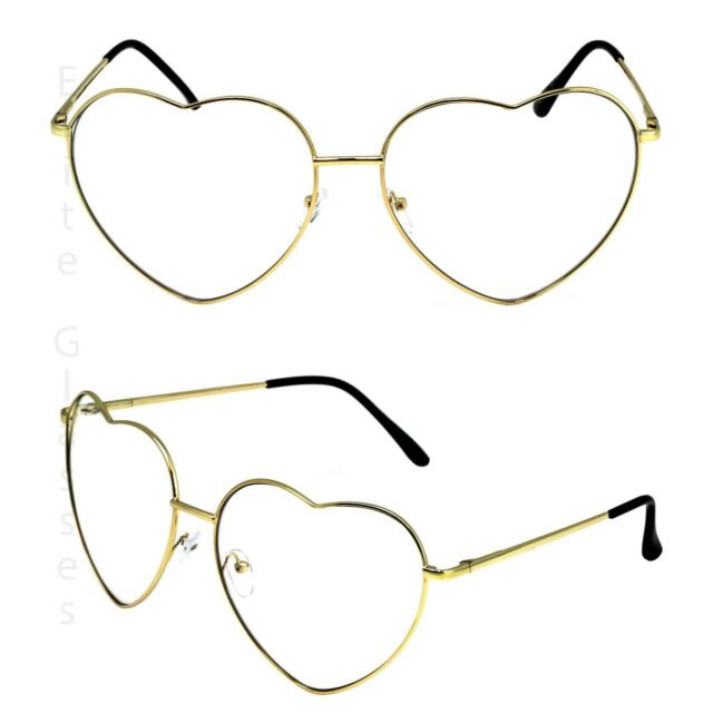 1300c44b937 Classic Vintage Retro Oversized Heart Shaped Clear Lens Eye Glasses Gold  Frame. +.  9.95Brand New. Free Shipping