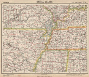 Details about SOUTHEASTERN USA. Arkansas Tennessee Missouri MS KY AL  Railroads. LETTS 1889 map