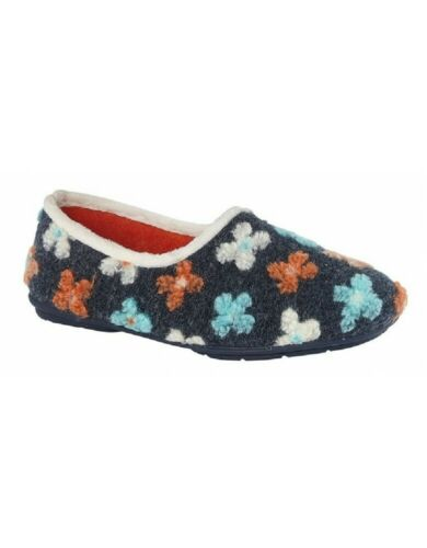 Sleepers Multi knitted flower slip o slippers Style Gracie Colour  Grey Sz eu 37