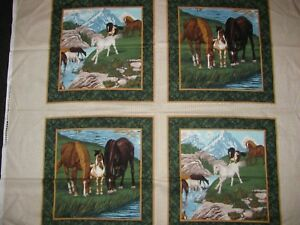 Horses-Pillow-Panels-Mountain-Valley-Ranch-Foals-Colts-Set-Of-4-on-Cotton-Fabric