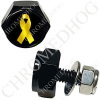 2 Black Billet Custom License Plate Frame Hex Bolts For Harley - Yellow Ribbon B