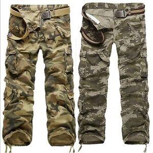 Popular-Multi-pocket-Men-039-s-Comfort-Camouflage-Cargo-Pants-Trousers-Jeans-Pants