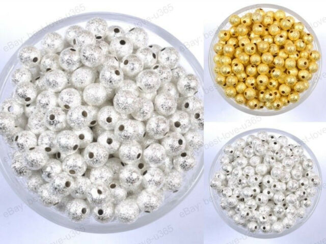 SILVER & GOLD Round Stardust COPPER Ball Spacer BEADS 4MM 6MM 8MM 10MM 12MM