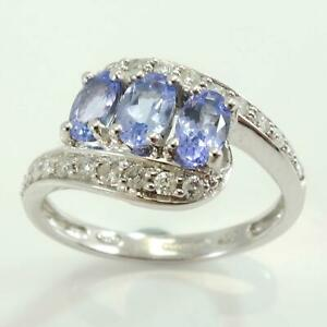 9ct-White-Gold-Tanzanite-amp-Diamond-Twist-Shoulder-Ring