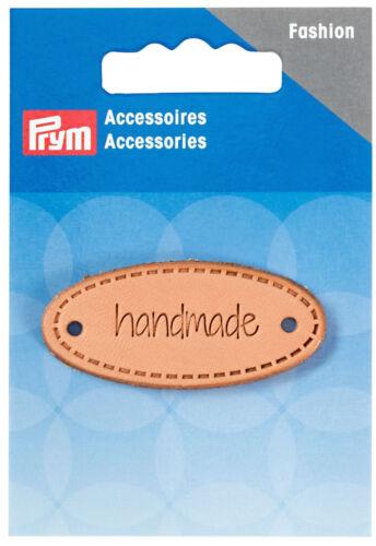 """Prym aplicación /""""Handmade/"""" etiqueta ovalada naturaleza 403796"""