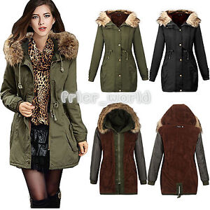 LADIES WOMENS JACKET HOODED WINTER MILITARY FLUFFY OVERSIZED PARKA ...