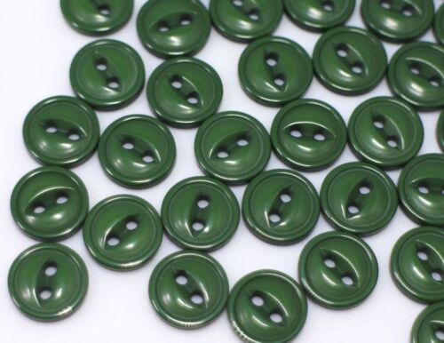 Dark Green Two Holes Buttons Small Cat Eye Army Green Sewing Craft 11mm 100pcs