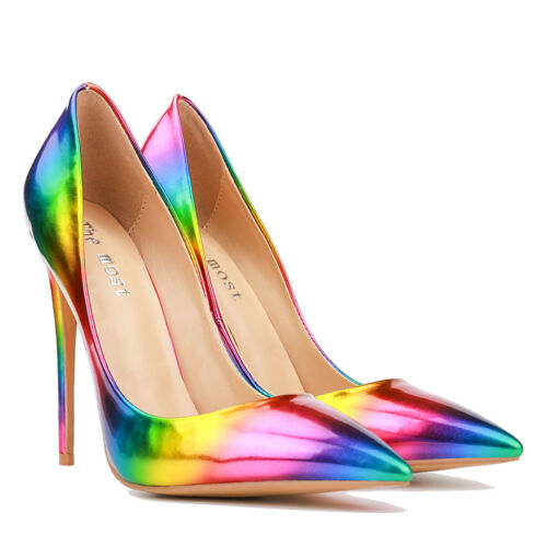 Slipper Kunstleder Spitz Stiletto Pumps Damenschuhe Freizeit Fashion Regenbogen