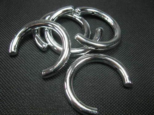 4 Acrylperlen Halbringe 40mm silber Perlen neu 7508