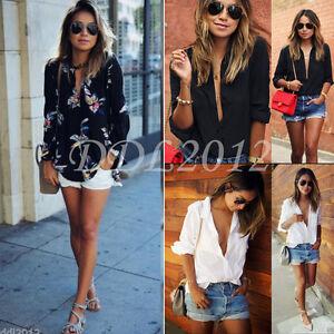 Fashion-Women-Loose-Long-Sleeve-T-Shirt-V-Neck-Casual-Ladies-Chiffon-Blouse-Tops