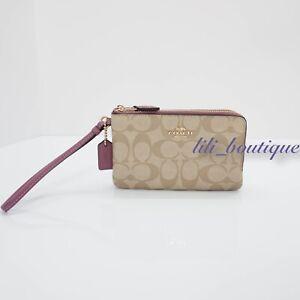 NWT-Coach-F87591-Double-Corner-Zip-Wallet-Wristlet-Canvas-Light-Khaki-Primrose