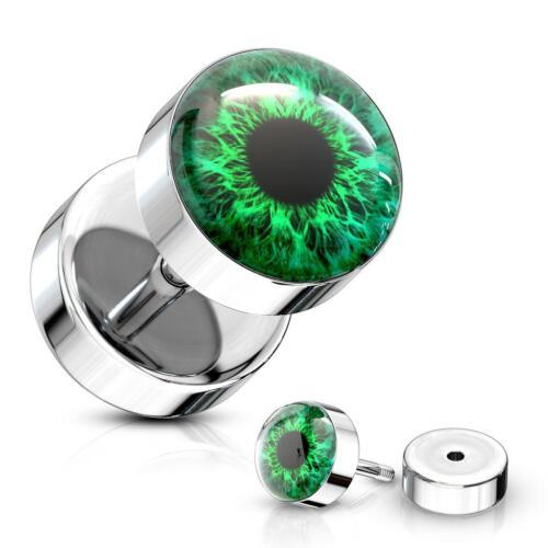 316L Surgical Steel Fake Ear Plug with Green Eye Ball