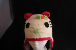 Image is loading Hello-Kitty-Knit-Hat-Cap-Fleece-Lined-Bow- f81c41c9b3e