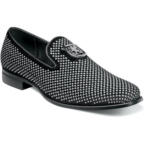 Stacy Adams Swagger Men/'s Studded Slip On Loafers Black//Silver 25228-042