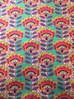 1 Yard Michael Miller Flower Peacock Tribal Aztec Feather Cotton Fabric Pastel