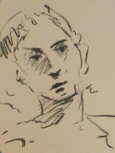 JOSE TRUJILLO Original Charcoal Paper Sketch Drawing 9X12 PORTRAIT EXPRESSIONIST