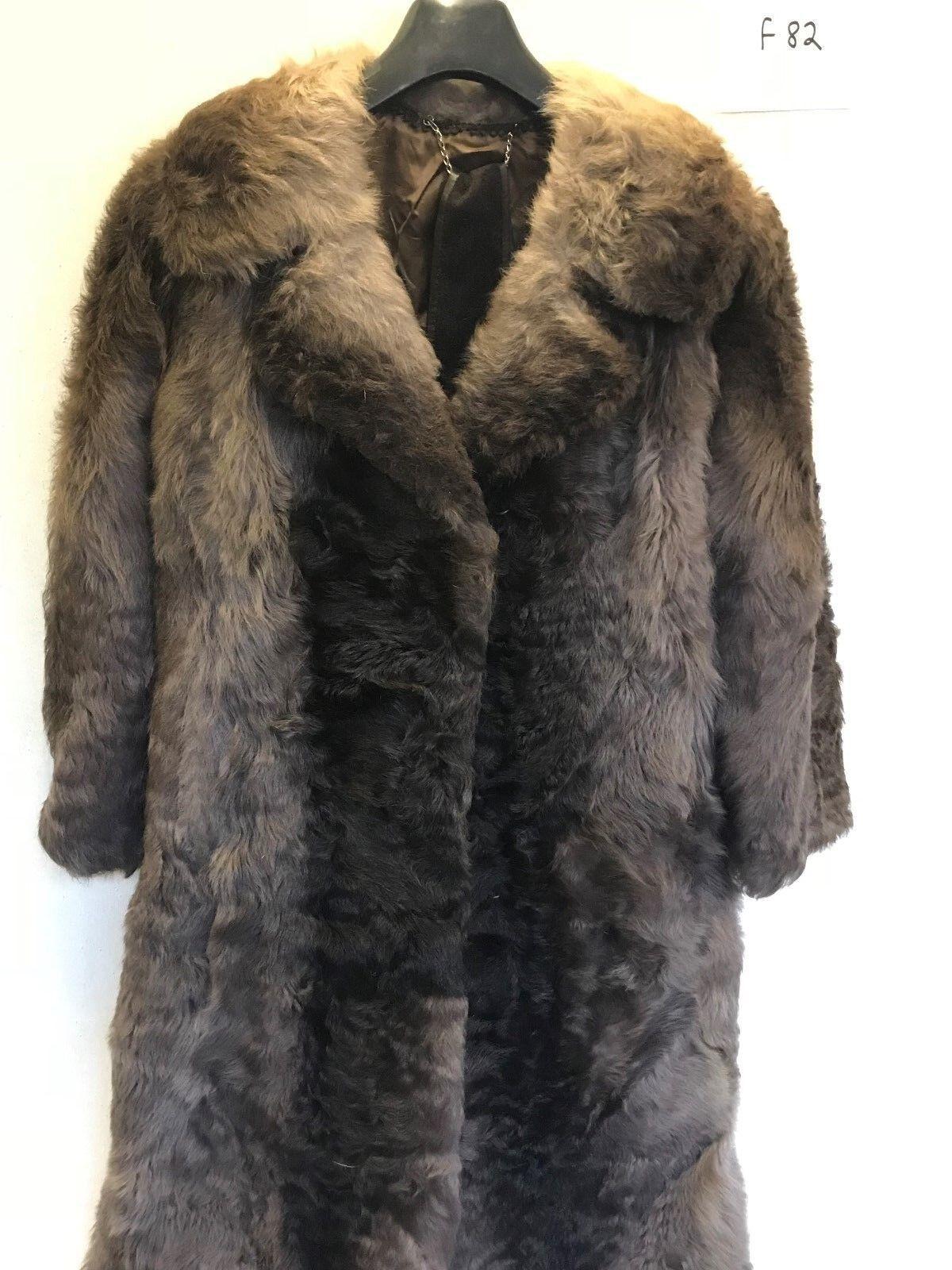 Vintage Ladies REAL FUR Coat in Brown Armpit Armpit 20  Length 45  (f82.1)