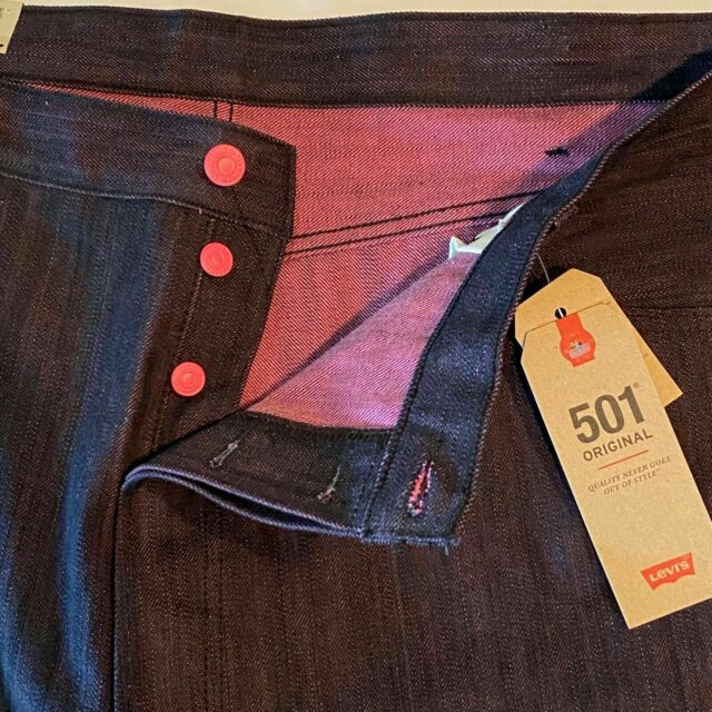 Levi's 501 Shrink to Fit Black Neon Pink Unwashed Raw ...