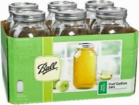 Ball, 1/2 Gallon (64 Oz), Wide Mouth, Mason Canning Jars, 6-pack 68100