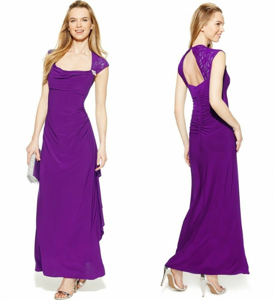 NWT-R&M RICHARDS Größe 12 Jeweled Ruffle Open-Back Long Party Dress  Retail